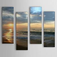Hand Painted Oil Painting Landscape Sea Set of 4 with Stretched Frame 1307-LS0106