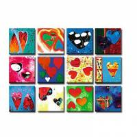 Hand-painted Abstract Oil Painting with Stretched Frame - Set of 12