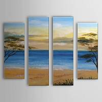 Hand Painted Oil Painting Landscape Sea Set of 4 with Stretched Frame 1307-LS0107