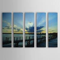 Hand Painted Oil Painting Landscape Sea Bridge Set of 5 with Stretched Frame 1307-LS0111