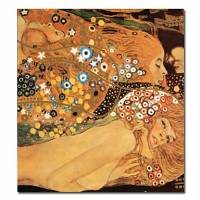 Hand-painted People Oil Painting with Stretched Frame 24 x 24 by Gustav Klimt