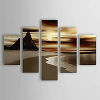 Hand Painted Oil Painting Landscape Beach Set of 5 with Stretched Frame 1307-LS0113