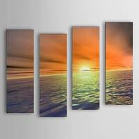 Hand Painted Oil Painting Landscape Sea Set of 4 with Stretched Frame 1307-LS0104