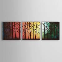 Hand-painted Oil Painting Landscape Forest Set of 3 1302-LS0218