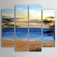 Hand-painted Oil Painting Landscape Beach Set of 4 1302-LS0222