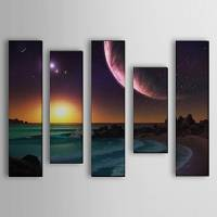 Hand Painted Oil Painting Landscape Sea Set of 5 with Stretched Frame 1307-LS0112