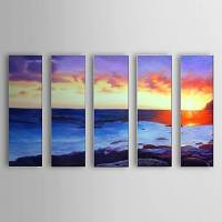 Hand Painted Oil Painting Landscape Sea with Stretched Frame Set of 5 1306-LS0324