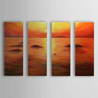 Hand Painted Oil Painting Landscape Sea with Stretched Frame Set of 4 1306-LS0330