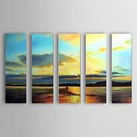 Hand Painted Oil Painting Landscape Sea with Stretched Frame Set of 5 1306-LS0323