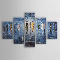 Hand Painted Oil Painting Abstract People Set of 5 1303-AB0409