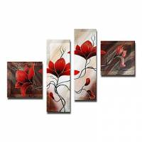 Hand-painted Floral Oil Painting with Stretched Frame - Set of 4