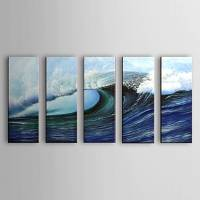 Hand Painted Oil Painting Landscape Sea with Stretched Frame Set of 5 1306-LS0325
