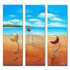 Hand-painted Landscape Oil Painting with Stretched Frame - Set of 3