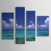 Hand Painted Oil Painting Landscape Sea Set of 4 with Stretched Frame 1307-LS0108