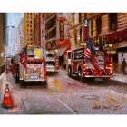 Printed Art Landscape Fire Department New York, 42nd Street NYC by Hall Groat II