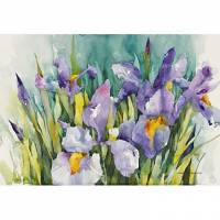 Printed Art Floral Purple Irises by Annelein Beukenkamp