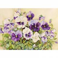 Printed Art Floral White and Purple Pansies by Joanne Porter
