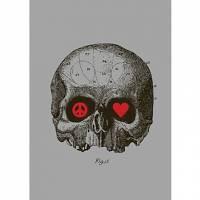 Printed Art Abstract Peace And Love by Budi Satria Kwan